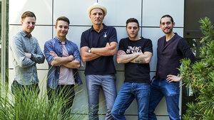 Willi Schöllmann mit den diesjährigen Siegern bei Meiko: Julian Lechner, Florian Hieke, Willi Schöllmann, Alexander Mayer, Guilherme Gonzatti (v.l.)