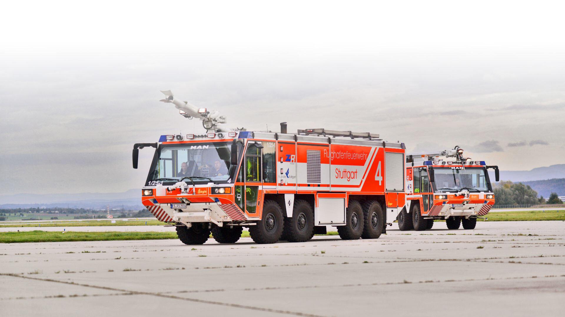 Die Flughafenfeuerwehr in Stuttgart