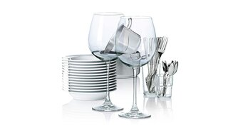 glasses cutlery plates