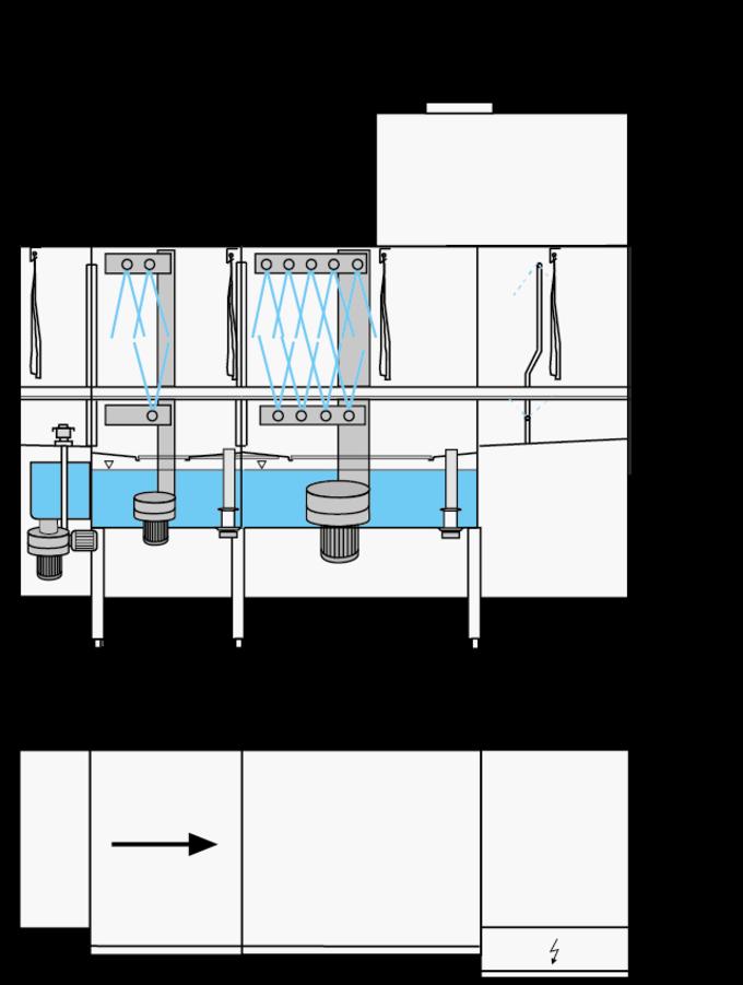 rack type dishwasher dimensional drawing