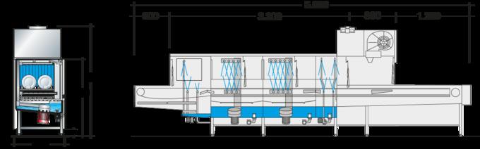 Dimension sheet flight type dishwasher UPster B 230 VAP CSS