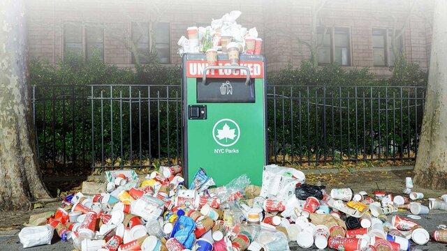 überlaufender Mülleimer