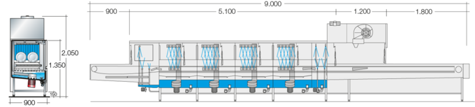 Dimension sheet flight type dishwasher UPster B 690 VAP CSS