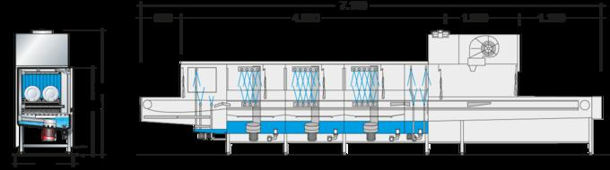 Dimension sheet flight type dishwasher UPster B 460 VAP CSS